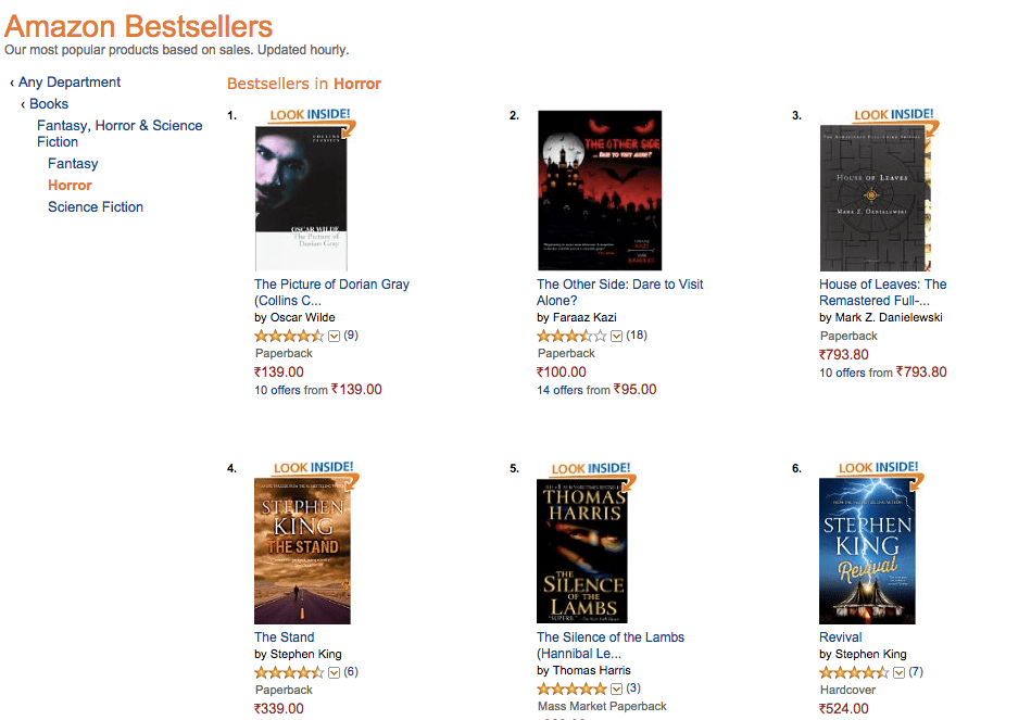 No. 2 horror best-sellers list The Other Side