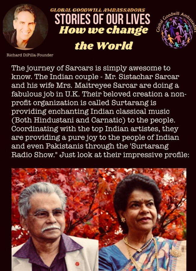 The Sarcars and their non profit organization Surtarang - India -Global Goodwill Ambassadors